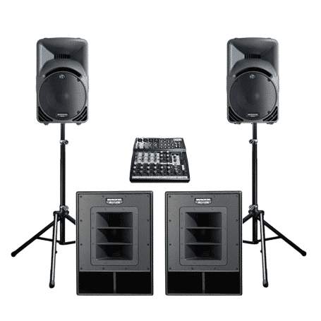 PA speakers with bass sub speakers