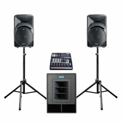 Active PA system hire with sub bass bin